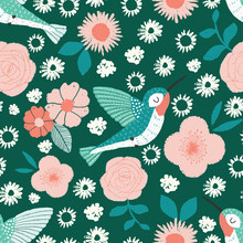 Hummingbird Garden Vector Seam...