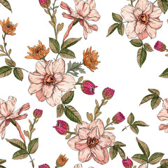 Fototapeta Vintage Floral seamless pattern with watercolor narcissus and chrysanthemums