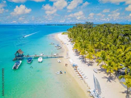Aerial view of beautiful beach in Trou aux Biches, Mauritius. Canvas Print