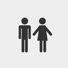 Man And Woman Vector Icon For Toilet Rooms And People Icon