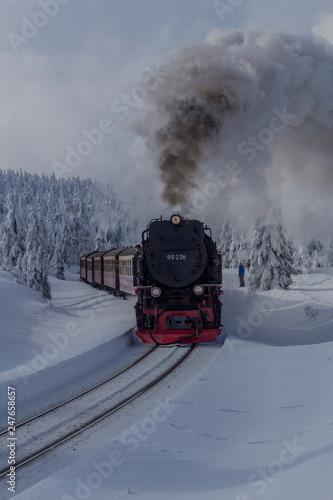 Fotobehang Spoorlijn Unterwegs in der Winterlandschaft durch den schönen Harz