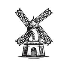 Old Wooden Windmill, Sketch. Agriculture, Farming, Bakery Logo Or Label. Vintage Vector Illustration