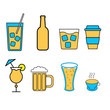Set of simple icons of alcoholic beverages for the bar, cafe: cocktails, glasses, beer, bottles, whiskey, coffee, tea on a white background. Vector illustration