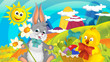 cartoon happy easter rabbit and chick with beautiful flowers on nature spring background - illustration for children