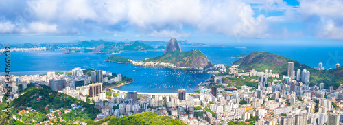 Beautiful cityscape of Rio de Janeiro city with Sugarloaf Mountain and Guanabara Canvas Print