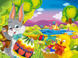 cartoon happy easter rabbit and chick with beautiful easter egg on nature spring background - illustration for children