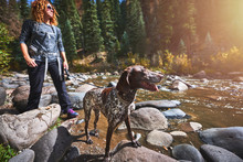 A Young Woman And Her Dog Hiking Next To A Mountain Stream.