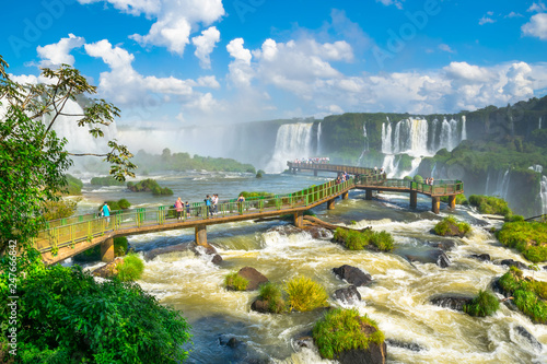Cuadros en Lienzo Beautiful  view of Iguazu Falls, one of the Seven Natural Wonders of the World -
