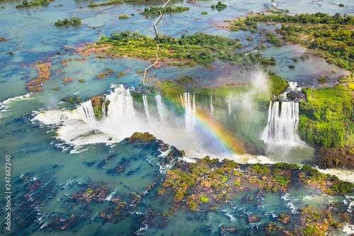 Fotografia  Beautiful aerial view of Iguazu Falls from the helicopter ride, one of the Seven