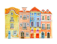 Four Watercolor Old Stone Euro...