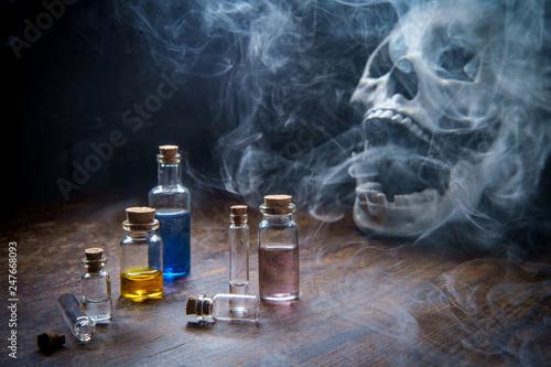 Photo  Skull Assorted Poison Bottles