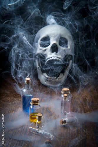 Canvas-taulu Skull Assorted Poison Bottles