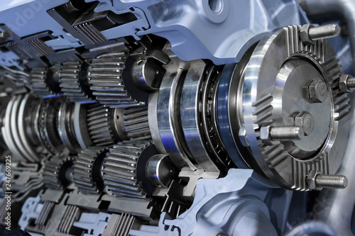 Fotografia, Obraz  Gearbox cross-section, engine industry, sprockets, cogwheels and bearings of aut