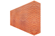 3D Illustration Brick Wall Perspective Isolated On White Background