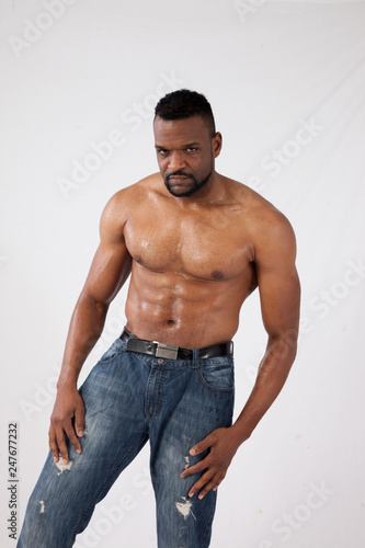 Fotografie, Obraz  Serious Black man with his shirt off