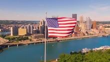 American Flag Flying Overlooking Pittsburgh, PA