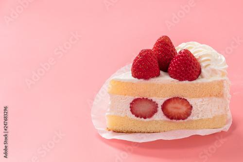 Obraz na plátne 記念日用ピンク背景の可愛いショートケーキ