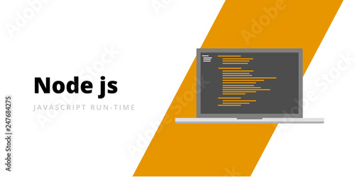 Learn to code Node JS Javascript run-time programming language with script code Wallpaper Mural