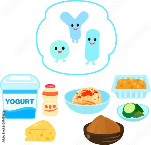 Fotografía  乳酸菌が含まれている食品と乳酸菌のキャラクター