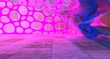 canvas print picture - Abstract  Concrete Futuristic Sci-Fi interior With Pink And Blue Glowing Neon Tubes . 3D illustration and rendering.