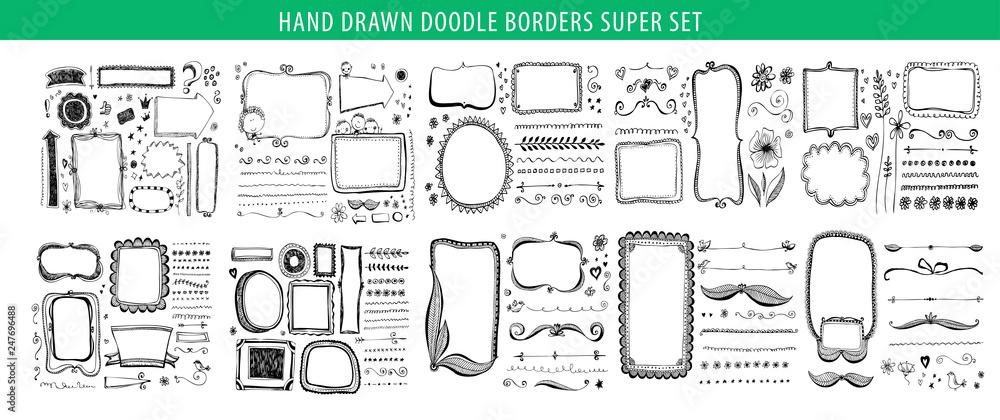 Fototapety, obrazy: Hand drawn line, border, frame vector design element set. Template for invitation or greeting card.