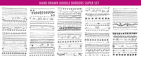 Hand drawn line, border, frame vector design element set. Template for invitation or greeting card.