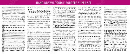 Hand drawn line, border, frame vector design element set Canvas Print