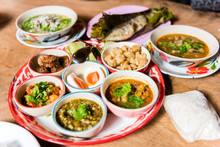 Traditional Northern Thai Food. Thai Cuisine Spicy Food.