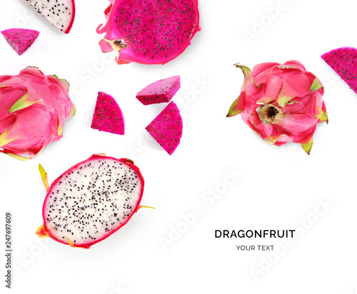 Creative layout made of dragonfruit. Flat lay. Food concept. Macro concept. - 247697609