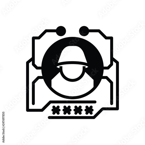 Black solid icon for hack Wallpaper Mural