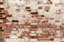A Fragment Of An Old Flaked Unrestored Brick Wall Of An Orthodoxal Church In A Small Russian Town