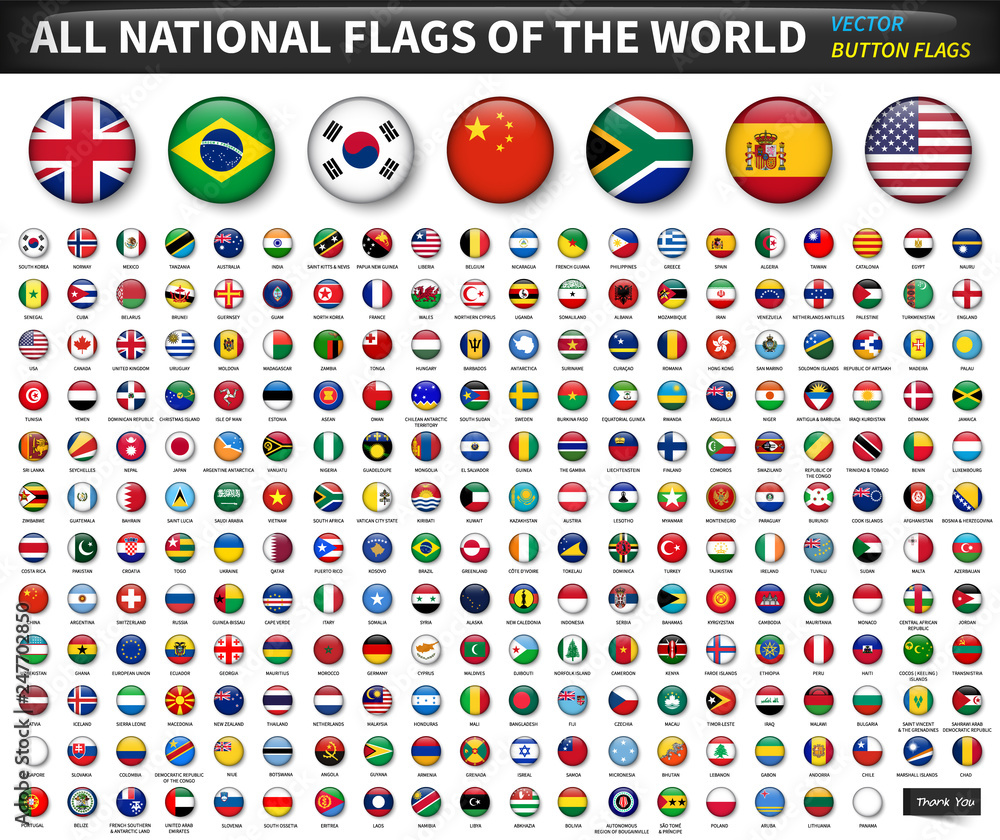 Fototapety, obrazy: All national flags of the world . Circle convex button design . Elements vector
