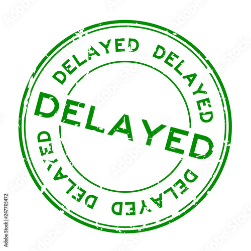 Fotografie, Obraz  Grunge green delayed word round rubber seal stamp on white background