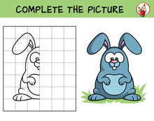 Complete The Picture Of A Crazy Rabbit. Copy The Picture. Coloring Book. Educational Game For Children. Cartoon Vector Illustration