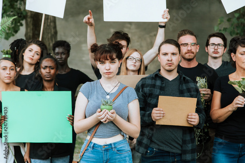 Angry environmentalists protesting for the environment Canvas Print