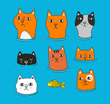 Set Of Cats Heads Isolated On ...