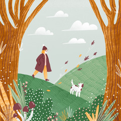 Panel Szklany Pies Autumn landscape illustration, girl and a dog walking