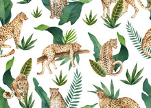 Watercolor Vector Seamless Pattern Of Tropical Leaves And Leopards In Jungle Isolated On White Background.