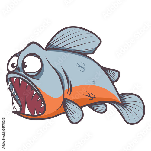 Fototapeta scary piranha fish cartoon