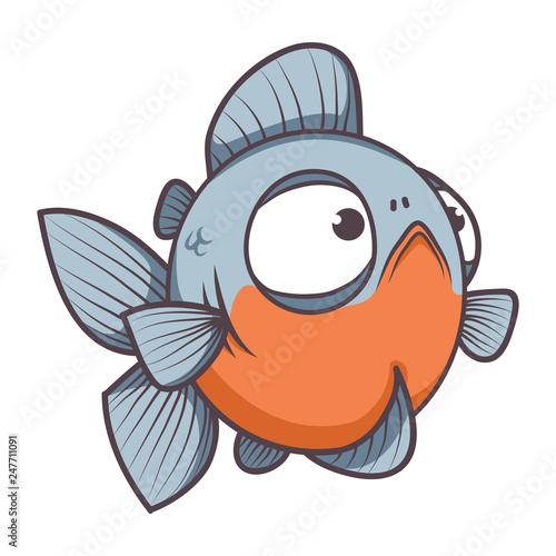 Valokuva  fat piranha fish cartoon