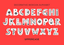 Vector Patterned Alphabet Decorated With Folk Mexican Ornaments.  Display Uppercase Font On A Red Background