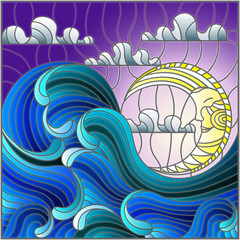 NaklejkaThe illustration in stained glass style painting abstract landscape sea waves on the background of sky and clouds with moon