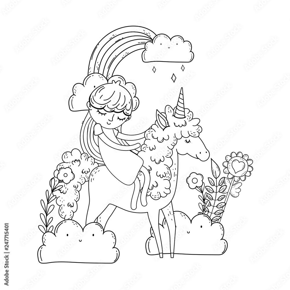 Piekny Maly Jednorozec Z Ksiezniczka W Krajobrazie 247715401 Kolorowanki Plakaty Ecowall24 Pl