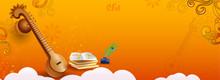 Vasant Panchami Header Or Banner Design With Illustration Of Veena Instrument And Books On Glossy Orange Background.