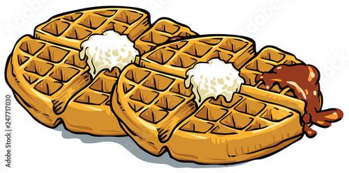 Cuadros en Lienzo waffle with chocolate - Vector