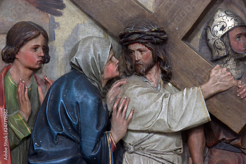 4th Stations of the Cross, Jesus meets His Mother Canvas Print