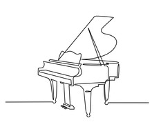 Piano Continuous One Line Vector Drawing