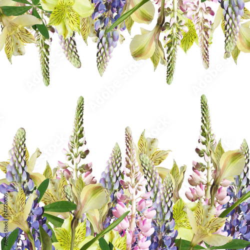 Fotobehang Draw Beautiful floral background of alstroemeria and lupine
