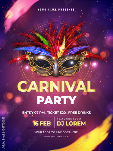 Obraz Carnival party template or flyer design with realistic party mask on purple bokeh background. - fototapety do salonu