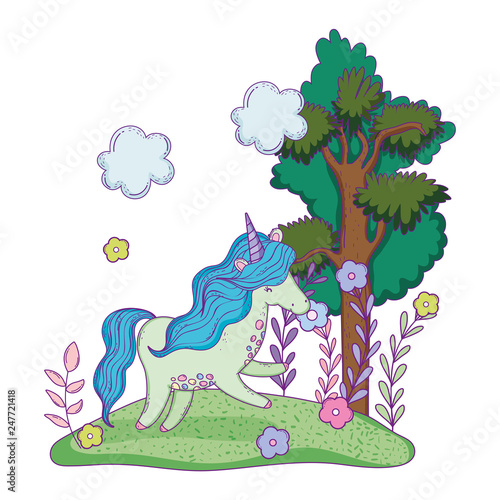 Canvas Prints Dinosaurs beautiful little unicorn in the landscape